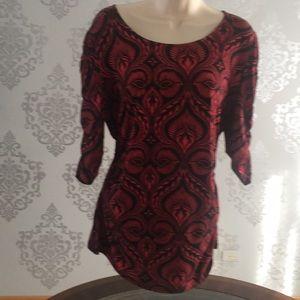 Alfani red & black top XL
